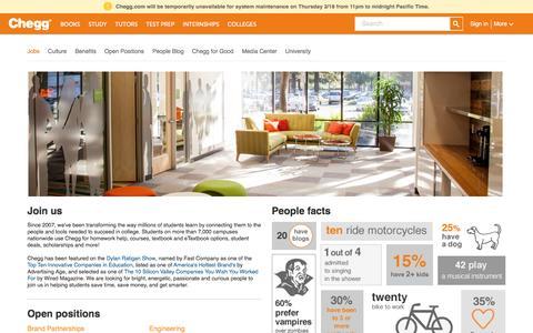 Screenshot of Jobs Page chegg.com - Chegg.com - captured Feb. 18, 2016
