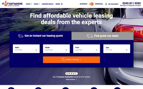 Screenshot of Home Page nationwidevehiclecontracts.co.uk - Nationwide Vehicle Contracts: Vehicle Leasing UK Specialists - captured Sept. 12, 2018