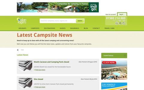 Screenshot of Press Page alanrogers.com - Alan Rogers News - captured Sept. 19, 2014