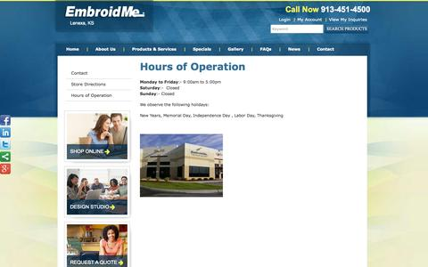 Screenshot of Hours Page embroidme-lenexa.com - Hours of Operation   EmbroidMe - captured Oct. 1, 2014