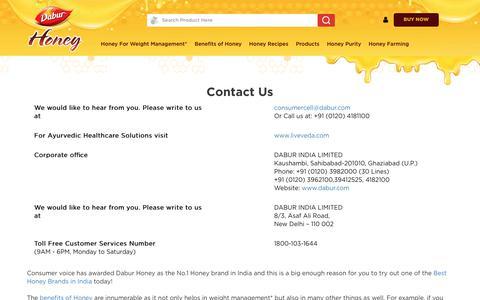 Screenshot of Contact Page dabur.com - Contact - Dabur Honey   Honey - captured Oct. 24, 2018