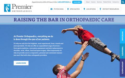 Screenshot of Home Page premierortho.com - Homepage - Premier Orthopaedics - captured Sept. 29, 2018
