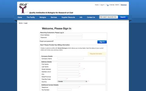 Screenshot of Login Page ablab.ca - Login : Ablab - captured Nov. 2, 2014