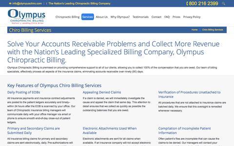 Screenshot of Services Page olympuschiro.com - Chiro Billing Services | Chiropractic Billing Specialists | Chiro Claims Billing - captured June 17, 2016