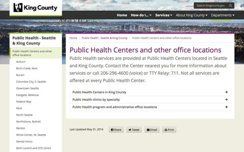 Screenshot of Locations Page kingcounty.gov - Public Health Centers and other office locations - King County - captured Aug. 21, 2016