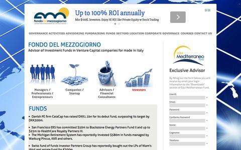 Screenshot of Home Page fondodelmezzogiorno.com - Fondo del Mezzogiorno - Advisor of Investment Funds in Venture Capital companies for made in italy - captured Jan. 28, 2015