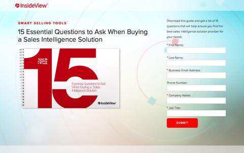 Screenshot of Landing Page insideview.com - 15 Essential Questions to Ask When Buying a Sales Intelligence Solution | Registration - captured Aug. 19, 2016
