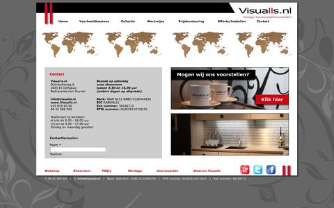 Screenshot of Contact Page visualls.nl - Visualls.nl - Specialist in unieke, exclusieve keuken achterwanden - captured Oct. 25, 2014