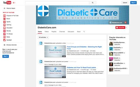 Screenshot of YouTube Page youtube.com - DiabeticCare.com  - YouTube - captured Oct. 23, 2014