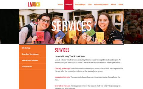 Screenshot of Services Page launchleadership.org - Launch | Nebraska Leadership Development - captured Dec. 7, 2015