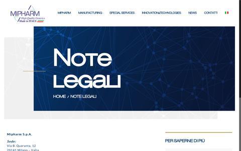 Screenshot of Terms Page mipharm.it - Note legali - Mipharm - Produzione farmaci conto terzi - captured Oct. 20, 2017