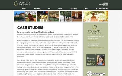 Screenshot of Case Studies Page columbiahospitality.com - Seattle Hotel Management, Seattle Hotel Consulting Management - captured Sept. 30, 2014