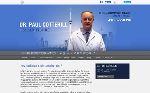 Screenshot of Pricing Page drcotterill.com - Toronto Hair Restoration Cost | Dr. Paul Cotterill - captured Oct. 18, 2018