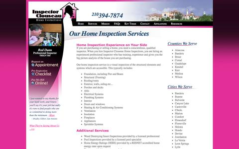 Screenshot of Services Page clouseauinspections.com - San Antonio Home Inspection Services - Inspector Clouseau - captured Oct. 6, 2014