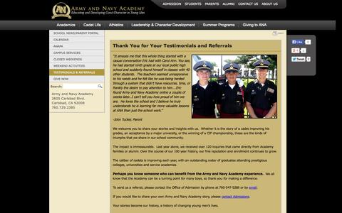 Screenshot of Testimonials Page armyandnavyacademy.org - Testimonials and Referrals for Army Navy Academy Boarding School - captured Sept. 30, 2014