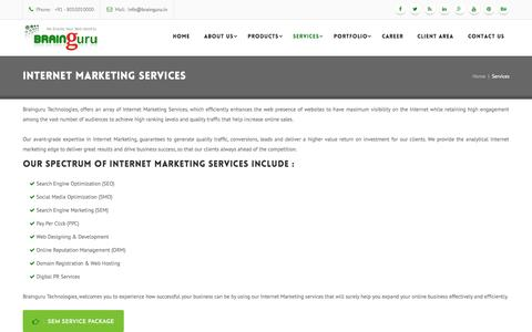 Screenshot of Services Page brainguru.in - Internet Marketing | Internet Marketing Services In Noida, India - captured Oct. 20, 2015