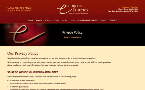 Screenshot of Privacy Page escobedoesthetics.com - Privacy Policy - Escobedo Esthetics - captured May 20, 2017