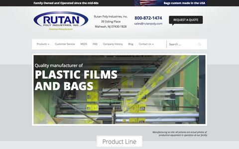 Screenshot of Home Page rutanpoly.com - Custom Poly Bags & Plastic Films Mahwah, New Jersey | Industrial Plastic Bags - captured Oct. 6, 2014