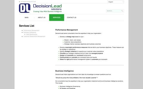 Screenshot of Services Page decisionlead.com - Decisionlead Services   Decisionlead - captured Feb. 8, 2016