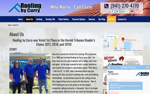 Screenshot of About Page roofingbycurry.com - About Us | Roofing by Curry | Sarasota FL - captured July 23, 2019