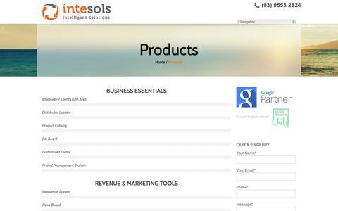 Screenshot of Products Page intesols.com.au - Products - Intesols Melbourne Victoria Australia   intesols.com.au - captured July 8, 2017