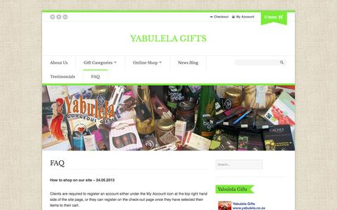 Screenshot of FAQ Page yabulela.co.za - FAQ | Yabulela Gifts - captured Sept. 30, 2014