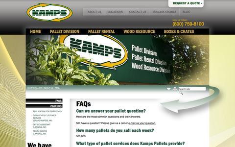 Screenshot of FAQ Page kampsinc.com - FAQs - Kamps Pallets - captured Oct. 6, 2014