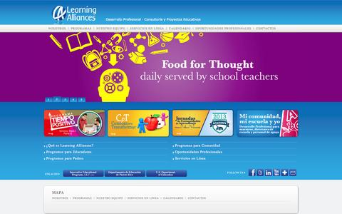 Screenshot of Home Page learningalliances.com - Bienvenidos a Learning AlliancesPuerto Rico - captured Oct. 2, 2014