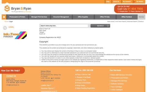 Screenshot of Terms Page bryansryan.ie - Legal - captured June 3, 2017