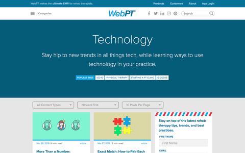 Screenshot of Blog webpt.com - Category - Technology   WebPT - captured May 21, 2018