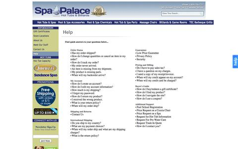 Screenshot of Support Page spapalace.com - Help - captured Oct. 6, 2014
