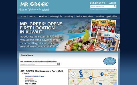 Screenshot of Locations Page mrgreek.com - Locations   Greek Restaurant in Toronto Greek Restaurants - captured Oct. 4, 2014