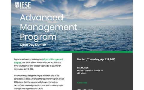 Screenshot of Landing Page iese.edu - Advanced Management Program - Open Day - IESE Business Scool - captured May 12, 2018
