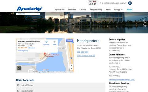 Screenshot of Locations Page anadarko.com - Contact Anadarko - Locations and Contact Information - captured Dec. 7, 2017