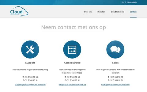 Screenshot of Contact Page cloud-communications.be - Contact - Cloud Communications - captured Oct. 2, 2014
