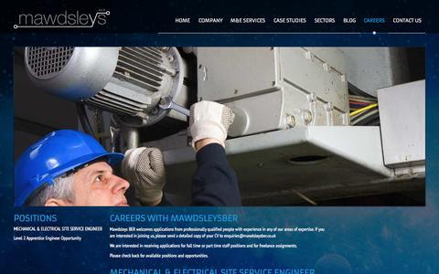 Screenshot of Jobs Page mawdsleysber.co.uk - Careers at Mawdsleys BER - captured Oct. 27, 2014