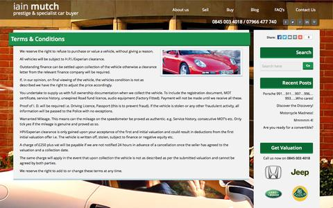 Screenshot of Terms Page iainmutch.co.uk - Terms & Conditions - Iain Mutch - captured Sept. 19, 2014