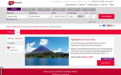 Screenshot of virginholidays.co.uk - Cost Rica Tours   Virgin Holidays - captured April 15, 2016