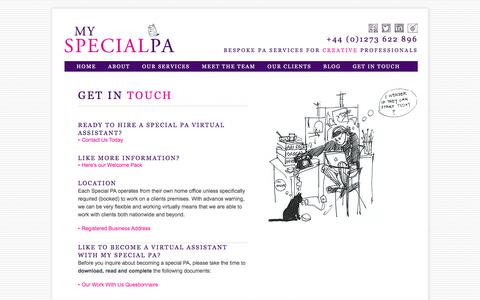 Screenshot of Contact Page myspecialpa.co.uk - Virtual Assistants London & Brighton | My Special PA - captured Dec. 6, 2016