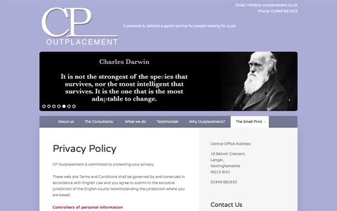 Screenshot of Privacy Page cp-outplacement.co.uk - Privacy Policy - CP Outplacement - captured July 14, 2018