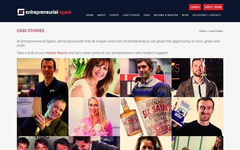 Screenshot of Case Studies Page entrepreneurial-spark.com - Entrepreneurial Spark | Case studies | Let's meet the entrepreneurs | Entrepreneurial Spark - captured Dec. 10, 2015