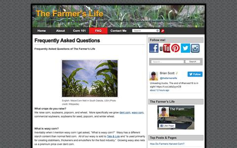 Screenshot of FAQ Page thefarmerslife.com - FAQ - The Farmer's Life - captured Oct. 29, 2018