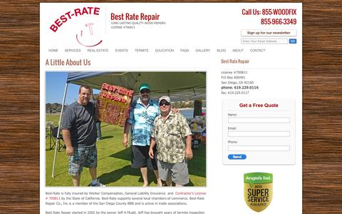 Screenshot of About Page best-rate-repair.com - A Little About Us | Best Rate Repair - captured Oct. 5, 2014