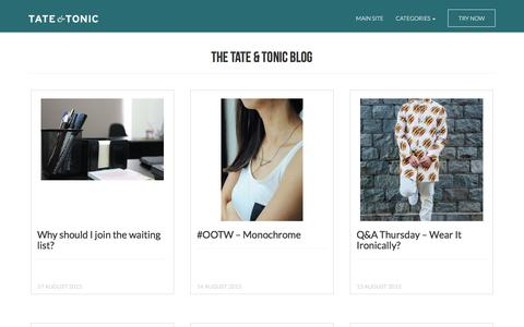 Screenshot of Blog tatetonic.com - The Tate & Tonic Blog - Customer Reviews, Brands, Interviews and more - captured Jan. 10, 2016