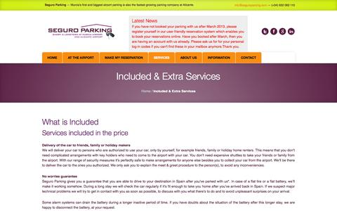 Screenshot of Services Page seguroparking.com - Included & Extra Services   Seguro Parking - captured Sept. 30, 2014