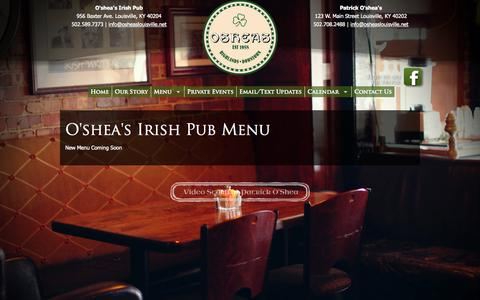 Screenshot of Menu Page osheaslouisville.net - Oshea's Irish Pub | Irish Pub Louisville Kentucky - captured Oct. 27, 2014