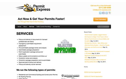 Screenshot of Services Page permit-express.com - PERMIT EXPEDITING | SERVICES - captured Oct. 2, 2014