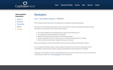 Screenshot of Developers Page capitaliseinvest.com - Developers | Property Crowdfunding Investments | Capitalise Invest - captured Sept. 27, 2014
