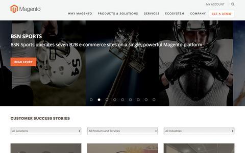 Screenshot of Case Studies Page magento.com - Customer Stories | Magento - captured Oct. 10, 2016