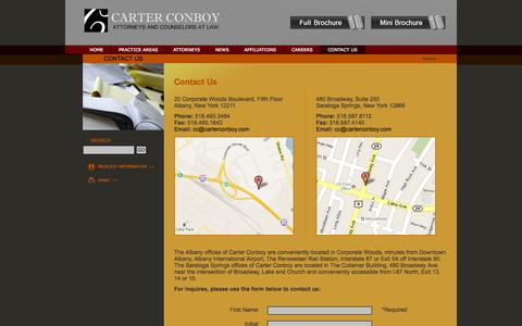 Screenshot of Contact Page carterconboy.com - Contact Us | Carter Conboy Case Blackmore Maloney Laird - captured Sept. 30, 2014